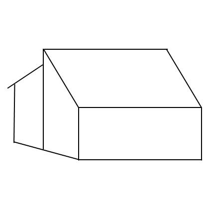 Schematische Darstellung eines Doppelpultdaches