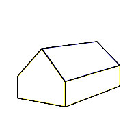 Schematische Darstellung eines Giebeldaches