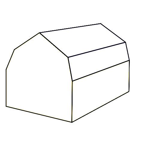 Schematische Darstellung eines Mansarddaches