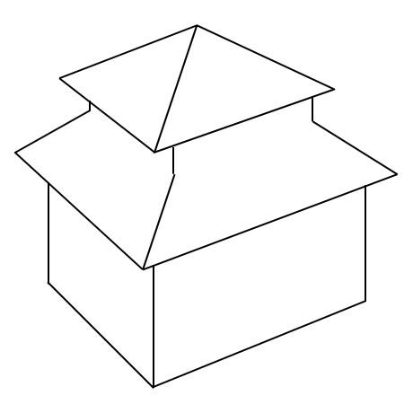 Schematische Darstellung eines Pagodendaches