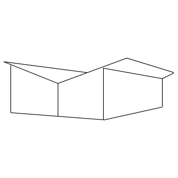 Zeichnung einer Schmetterlingsdachform