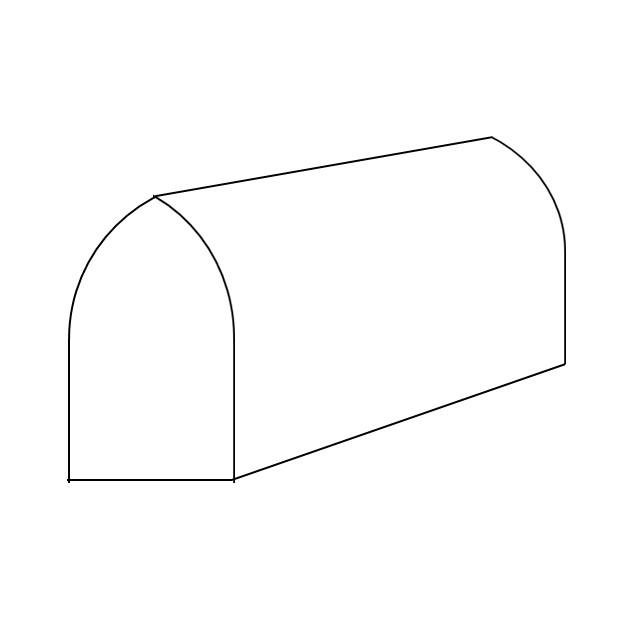 Schematische Darstellung eines Spitztonnendaches
