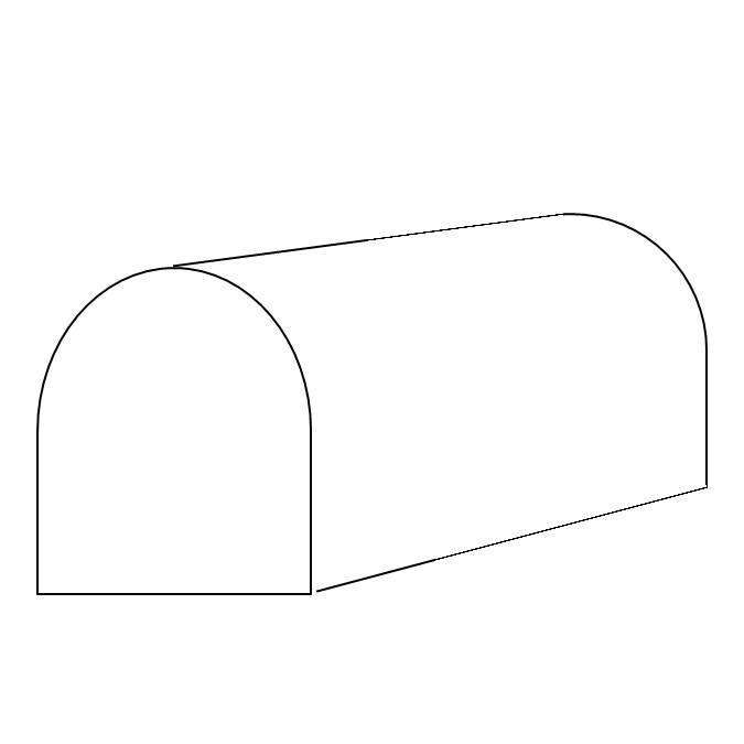 Schematische Darstellung eines Rundbogendaches