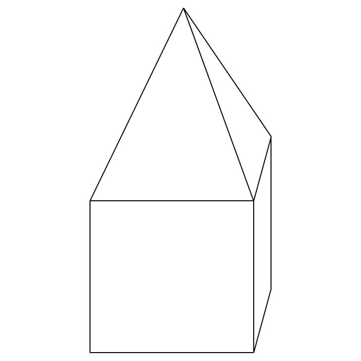 Schematische Skizze eines Pyramidendaches