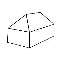 Schematische Darstellung eines Walmdaches