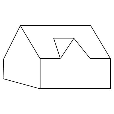 Schematische Darstellung eines Zwerchdaches