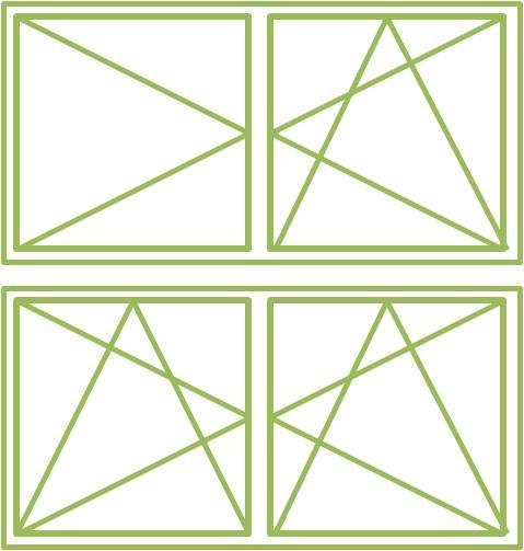 Bild eines Holz-Alu-Fensters als zweiflügeliges Drehkippfenster symmetrisch oder asymmetrisch geteilt