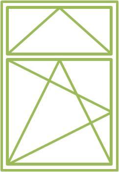 Bild eines Holz-Alu-Fensters als einflügeliges Drehkippfenster mit beweglichem Ober- oder Unterlicht, symmetrisch geteilt