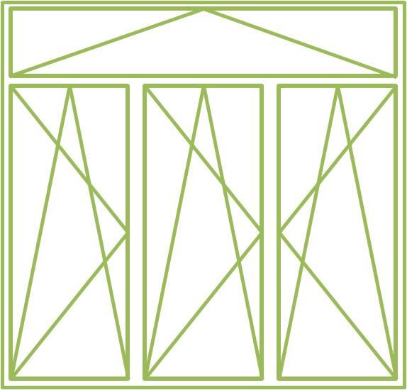 Bild eines Holz-Alu-Fensters als dreiflügeliges Drehkippfenster mit beweglichem Ober- oder Unterlicht, symmetrisch geteilt