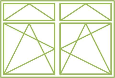 Bild eines Holz-Alu-Fensters als zweiflügeliges Drehkippfenster mit zweiflügeligem Ober- oder Unterlicht, symmetrisch geteilt