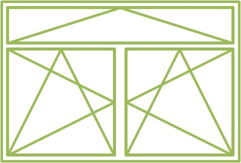Zweiflügeliges Drehkippfenster mit zweiflügeligem Ober- oder Unterlicht, symmetrisch geteilt