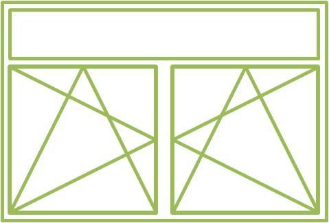 Bild eines Holz-Alu-Fensters als zweiflügliges Drehkippfenster mit festverglastem Ober- oder Unterlicht ohne Flügel, symmetrisch geteilt