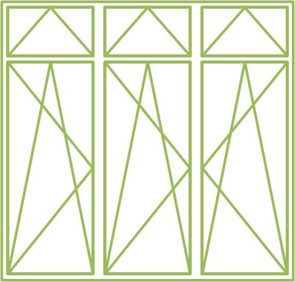 Bild eines Holz-Alu-Fensters als dreiflügeliges Drehkippfenster mit dreiflügeligem Ober- oder Unterlicht, symmetrisch geteilt