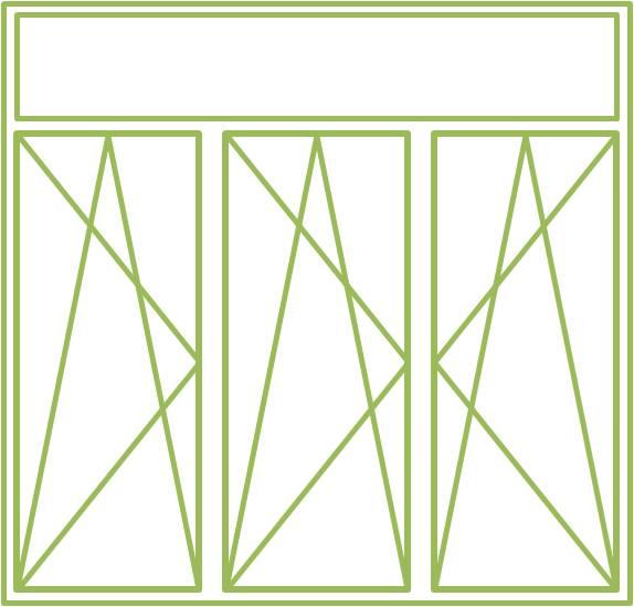 Bild eines Holz-Alu-Fensters als dreiflügeliges Drehkippfenster mit festverglastem Ober- oder Unterlicht ohne Flügel, symmetrisch geteilt