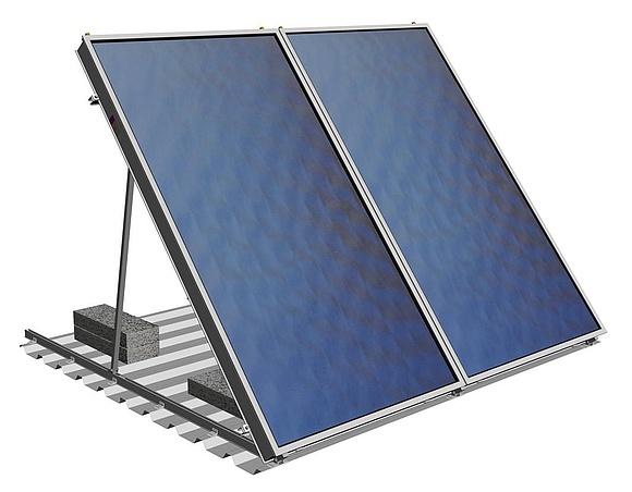 Montage von solarkollektoren auf schr g flachd chern for Klimaanlage dachmontage
