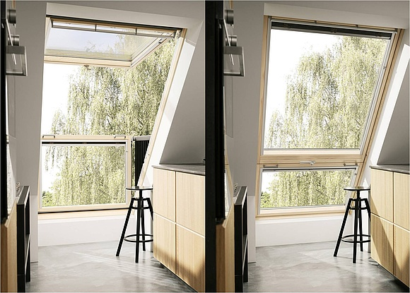 so funktioniert das dachfenster mit balkon. Black Bedroom Furniture Sets. Home Design Ideas